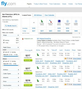 San Francisco to Atlanta: Fly.com Results