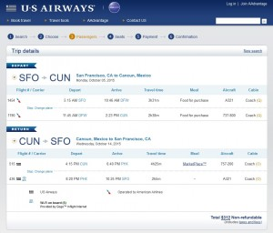 San Francisco to Cancun: US Air Booking Page