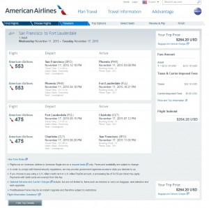 San Francisco to Ft. Lauderdale ($265): AA Booking Page