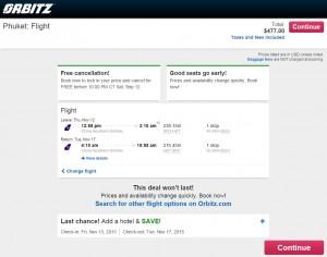 San Francisco to Phuket: Orbitz Booking Page