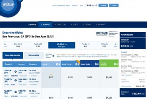 San Francisco to Puerto Rico: JetBlue Booking Page