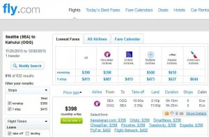 Seattle-Maui: Fly.com Search Results