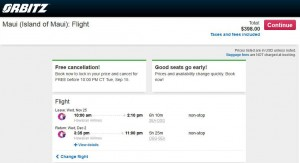 Seattle-Maui: Orbitz Booking Page