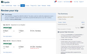 Atlanta to Los Angeles: Expedia Booking Page