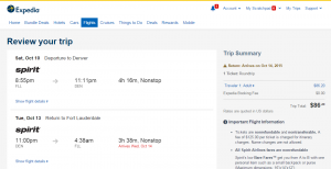 Ft Lauderdale to Denver: Expedia Booking Page