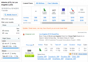 Atlanta to Los Angeles: Fly.com Results Page