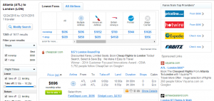 Atlanta to London: Fly.com Results Page