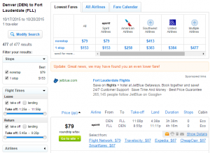 Denver to Ft Lauderdale: Fly.com Results Page