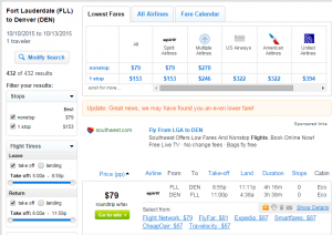 Ft Lauderdale to Denver: Fly.com Results Page