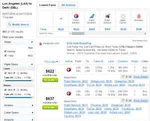 LA to Delhi: Fly.com Results Page
