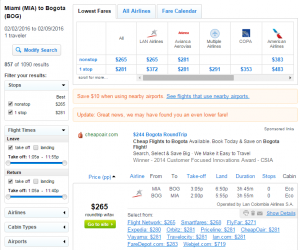 Miami to Bogota: Fly.com Results Page
