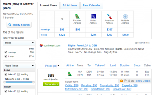 Miami to Miami: Fly.com Results Page