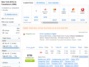 NYC to Casablanca: Fly.com Results Page
