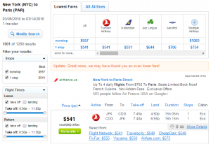 NYC to Paris: Fly.com Results Page