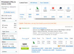 Philadelphia to Cancun: Fly.com Results Page
