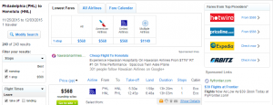 Philly to Honolulu: Fly.com Results Page