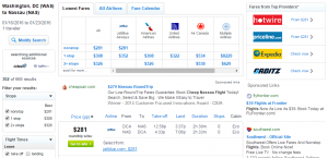 D.C. to Nassau: Fly.com Results Page
