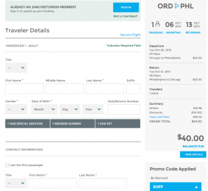 Chicago to Philly: Frontier Booking Page