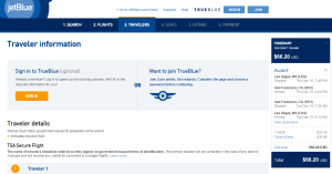 Vegas to SF: JetBlue Booking Page