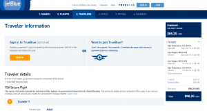 SF to Vegas: JetBlue booking Page