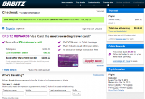NYC to Paris: Orbitz Booking Page
