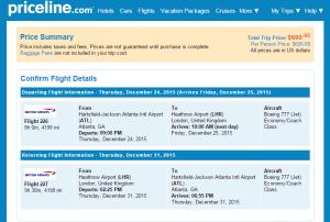 Atlanta to London: Priceline Booking Page