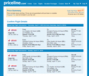 LA to Delhi: Priceline Booking Page