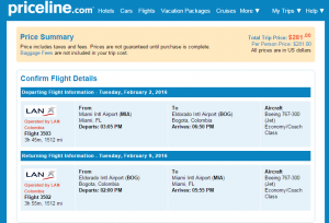 Miami to Bogota: Priceline Booking Page