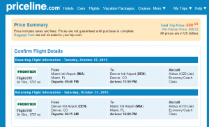 Miami to Miami: Priceline Booking Page Page