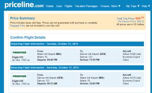Miami to Miami: Priceline Booking Page Page