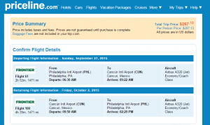 Philadelphia to Cancun: Priceline Booking Page