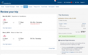 NYC to Casablanca: Travelocity Booking Page