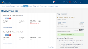 NYC to Rome: Travelocity Booking Page