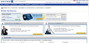 Boston to San Juan: United Booking Page