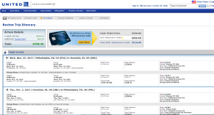 Philly to Honolulu: United Booking Page
