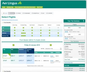 Boston to Dublin: Aer Lingus Booking Page
