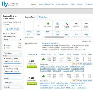 Boston to Dublin: Fly.com Results