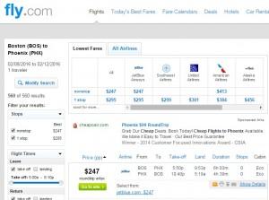 Boston to Phoenix: Fly.com Results