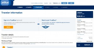 Boston to Phoenix: JetBlue Booking Page