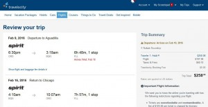 Chicago-Aguadilla: Travelocity Booking Page