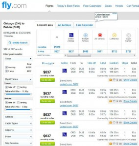 Chicago-Dublin: Fly.com Search Results