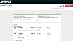 Chicago-Istanbul: Orbitz Booking Page