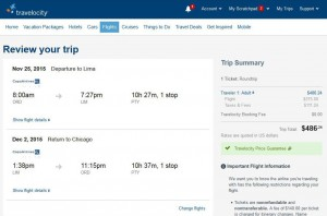 Chicago-Lima: Travelocity Booking Page
