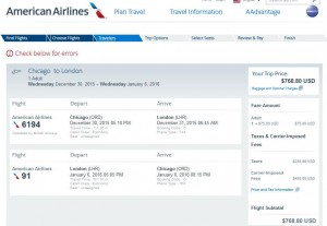 Chicago-London: American Airlines Booking Page