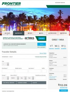 Chicago-Miami: Frontier Airlines Booking Page