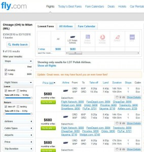 Chicago-Milan: Fly.com Search Results