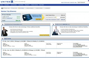 Chicago-Orlando: United Airlines Booking Page