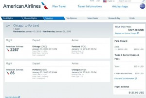 Chicago-Portland: American Airlines Booking Page