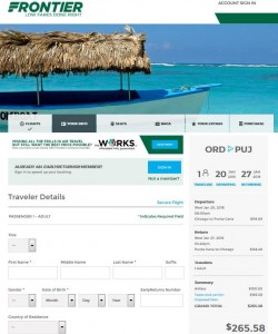Chicago-Punta Cana: Frontier Airlines Booking Page