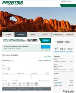 Chicago-Salt Lake City: Frontier Airlines Booking Page